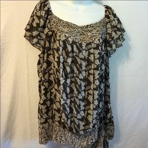 Apt. 9 blouse top w/pleating and tied on side NWOT